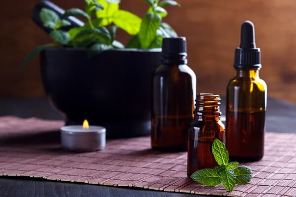 Three bottles of essential oils